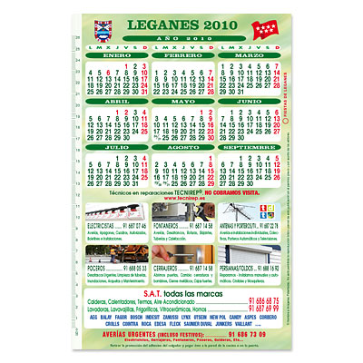 Calendario pared Tecnirep