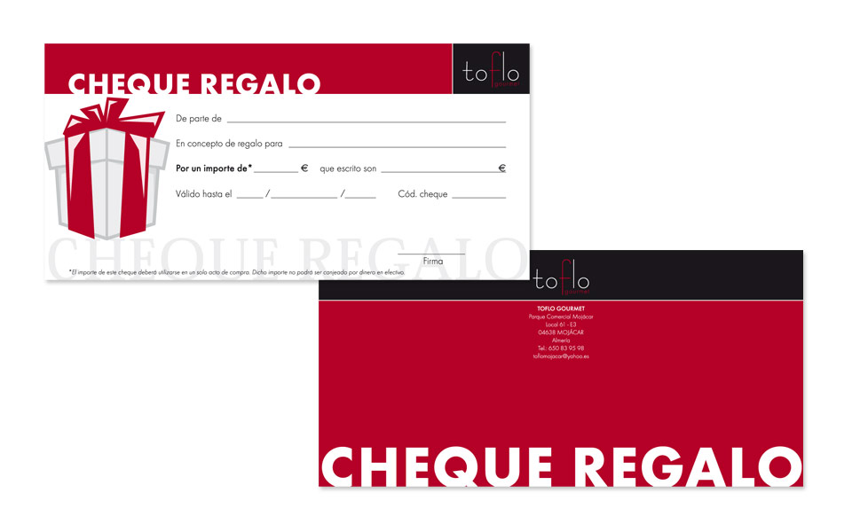 Cheque Regalo Toflo